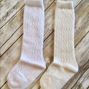 Brand New Set 2 Pairs Lace Knee High Socks 2-4 Y